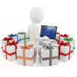 Stock Photo: 3d man businessman with gift boxes