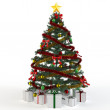 3d Christmas tree with gift boxes — Stock Photo