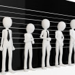 3d man with police lineup wall — 图库照片