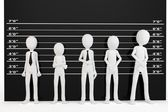 3d man with police lineup wall — Stock Photo