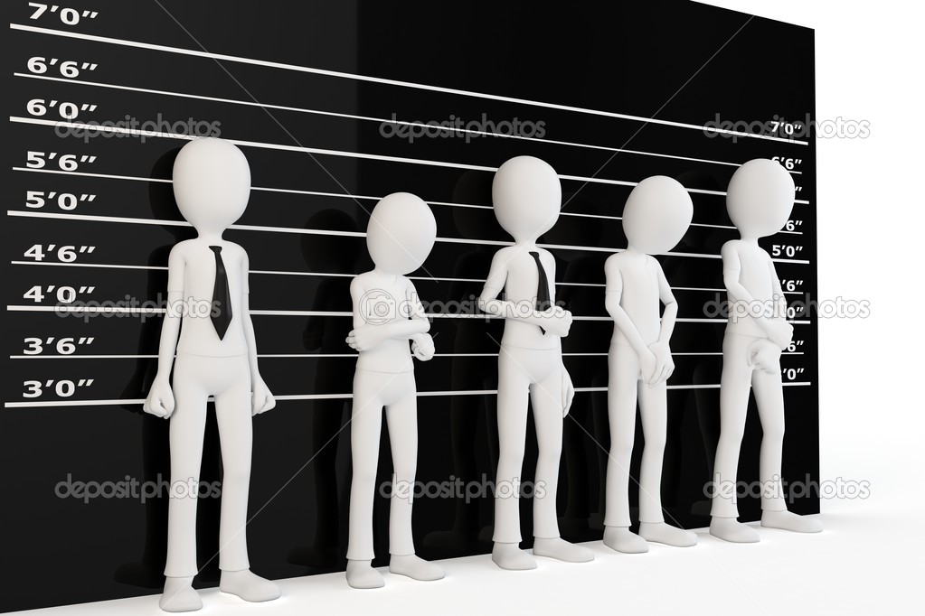 3d man with police lineup wall on white background — Stock Photo #8348134