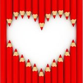 3d heart shape out of pencils — Stock Photo