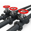 Stock Photo: 3d pipe system and oil valve