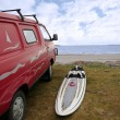 Royalty-Free Stock Photo: Windsurfers van and board at beach