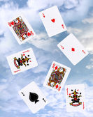 Cloud gaming with playing cards — Stock Photo
