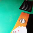 Casino blackjack table ace of hearts — Stock Photo