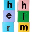 Her him in block letters with clipping path — Stock Photo
