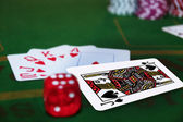 Dice with the blackjack in the pack — Stock Photo