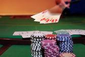 Poker player showing royal flush — Stock Photo
