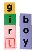 Boy girl in toy play block letters with clipping path — Stock Photo