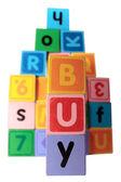 Comprar em brinquedo jogo maiúsculas com traçado de recorte — Fotografia Stock