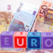 Euro in blocks on cash — Stock Photo