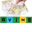 Euro savings in toy letters — Stock Photo
