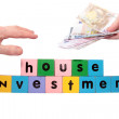 Joint house investment in toy block letters — Foto de Stock