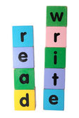 Oyuncak bloklar üzerinde metin yazmak ve okumak — Stok fotoğraf