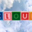 Cloud in toy block letters — Stock Photo