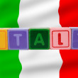 Stock Photo: Italy and flag in toy block letters