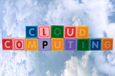 Cloud computing in toy block letters — Stock Photo
