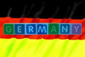 Germania e bandiera in stampatello giocattolo — Foto Stock