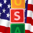 Stock Photo: Usand flag in toy letters