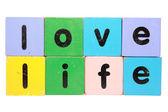 Vida amorosa en bloques de juguete — Foto de Stock