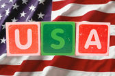 Usa and flag in toy block letters — Foto de Stock