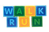 Caminar antes de correr en mayúsculas — Foto de Stock