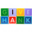 Постер, плакат: Give thanks in toy block letters