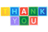 Thank you in toy block letters — Stock Photo