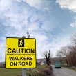 Royalty-Free Stock Photo: Caution walkers on road sign