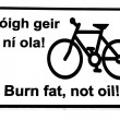 Irish burn fat not oil road sign on white — Stock Photo #9646449