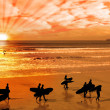Stock Photo: Surfers walking on glorious sunset beach