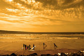 Student surfers glorious sunset beach — Stock Photo