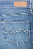 青いデニムのポケットとラベル — ストック写真
