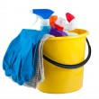 Yellow bucket with cleaning supplies — Stock Photo #8057882