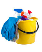 Yellow bucket with cleaning supplies — Stok fotoğraf