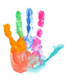 Colored hand print — Stockfoto