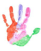 Close up of colored hand print — Foto de Stock