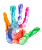 Colored hand print — Stockfoto