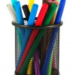 Set of felt-tip pens of different colors in holder — Stock Photo #8582707