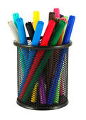 Set of felt-tip pens of different colors in holder — Stock Photo