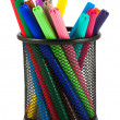 Set of felt-tip pens of different colors in holder - Stock Photo