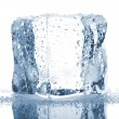 Stock Photo: Single ice cube with water drops