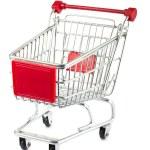 Single empty shopping cart — Stock Photo