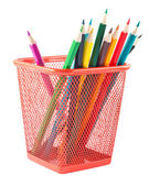 Pencils in red holder — Stock Photo