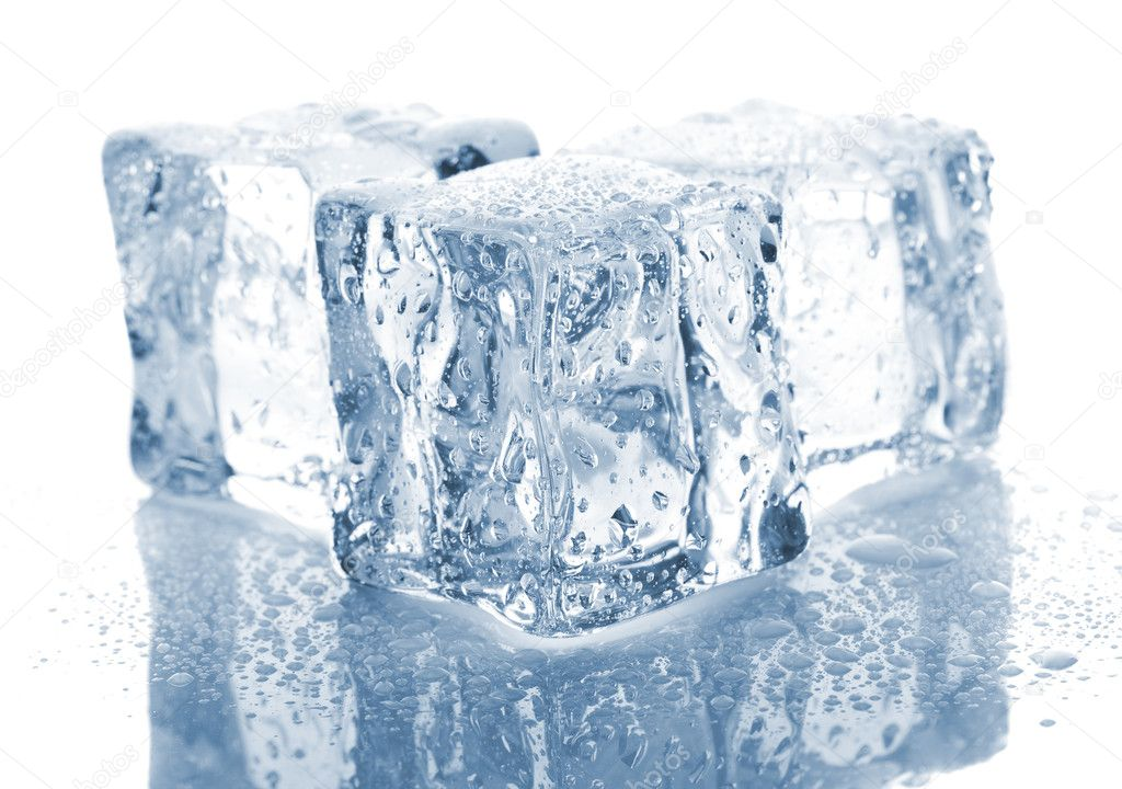 Three melting ice cubes on white background — Stock Photo #9374193