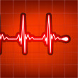 Heart cardiogram with shadow on red. EPS 8 - Stock Vector