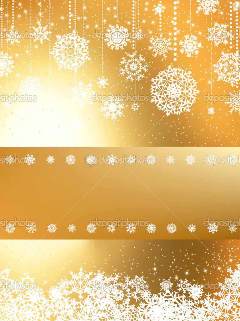 Golden Merry Christmas greeting card. EPS 8 vector file included — Stock Vector #10496819