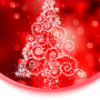 Christmas tree illustration on red bokeh background. EPS 8 vector file included — Stockvektor