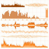 Sound waves set. Music background. EPS 8 — Stock Vector